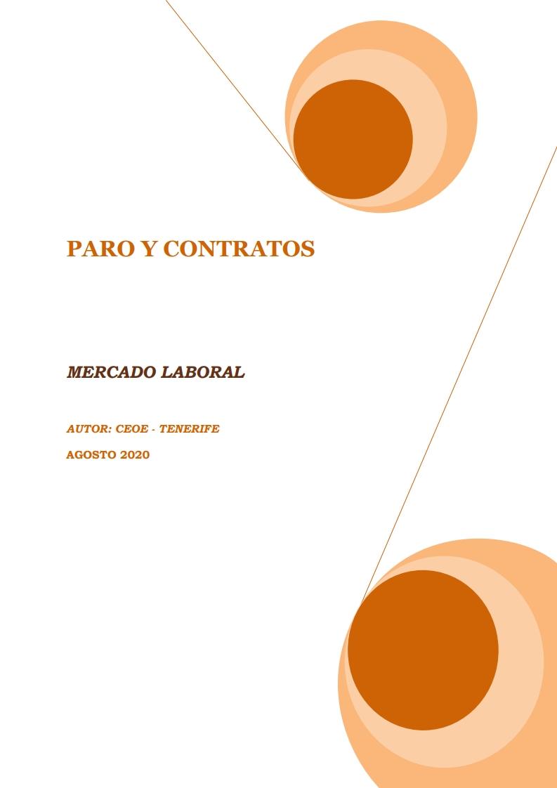 MERCADO LABORAL - PARO Y CONTRATOS AGOSTO 2020