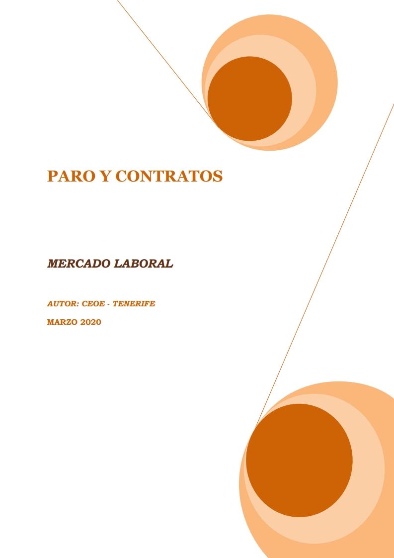 MERCADO LABORAL - PARO Y CONTRATOS MARZO 2020