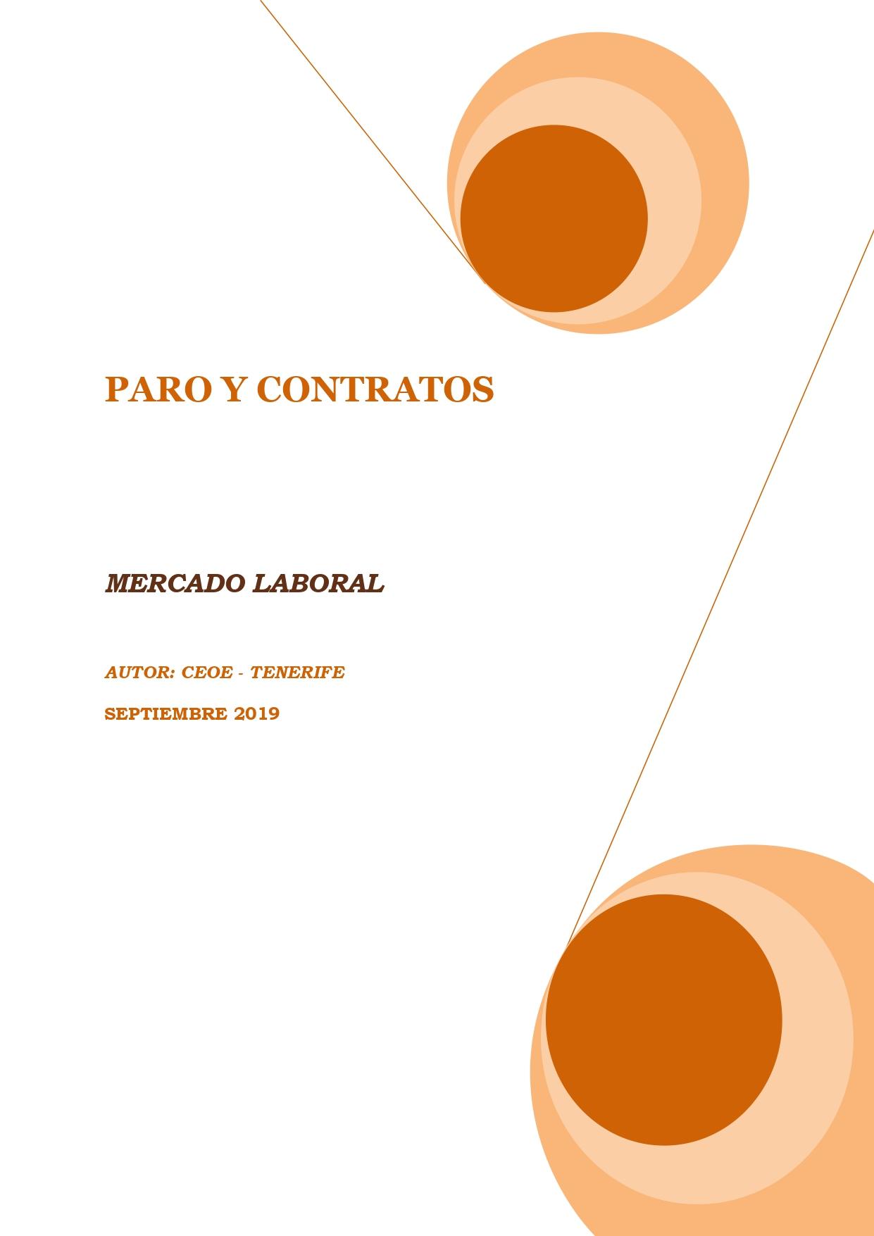 MERCADO LABORAL - PARO Y CONTRATOS SEPTIEMBRE 2019